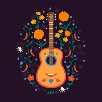 Composition avec guitare mexicaine et éléments floraux.