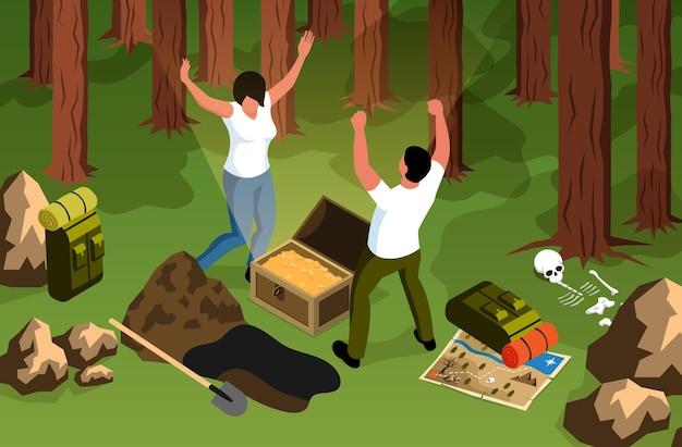 Composition horizontale de chasse au trésor isométrique avec des paysages forestiers et des personnages de trouveurs heureux avec coffre au trésor