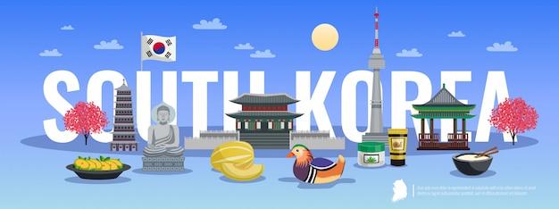 Composition horizontale du tourisme en corée du sud avec des photos de style doodle d'objets culturels traditionnels et illustration de texte