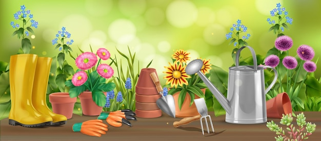 Composition horizontale de jardin réaliste de table en bois avec des fleurs dans des pots arrosoir bottes et illustration de la houe
