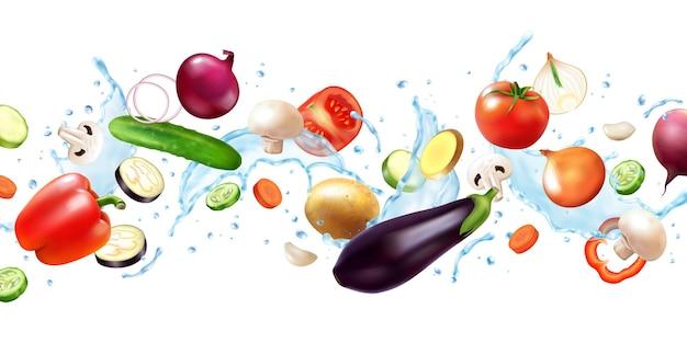 Composition horizontale de légumes éclaboussures d'eau réalistes avec des images volantes de fruits entiers et de tranches avec des gouttes