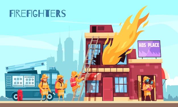 Composition horizontale de lutte contre le feu