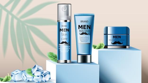 Composition d'huile de soin de la peau et de lotion hydratante pour homme