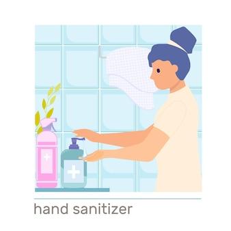Composition d'hygiène des mains avec une femme utilisant un désinfectant dans un appartement de salle de bain