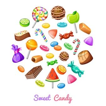 Composition d'icônes de bonbons sucrés