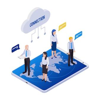 Composition d'icônes isométriques de travail à distance de gestion à distance avec des personnes d'icône de nuage avec des bulles de pensée et une carte du monde