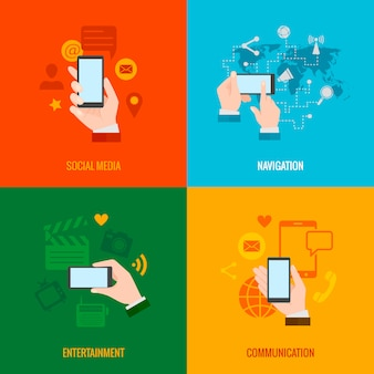 Composition d'icônes plat téléphone intelligent à la main