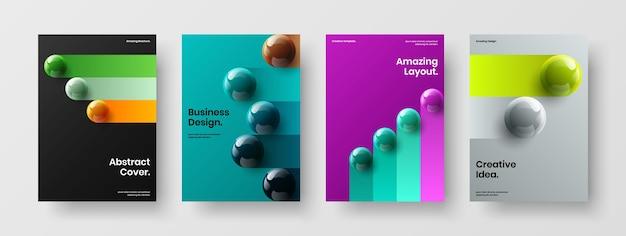 Composition d'illustration de brochure d'entreprise orbes réalistes simples