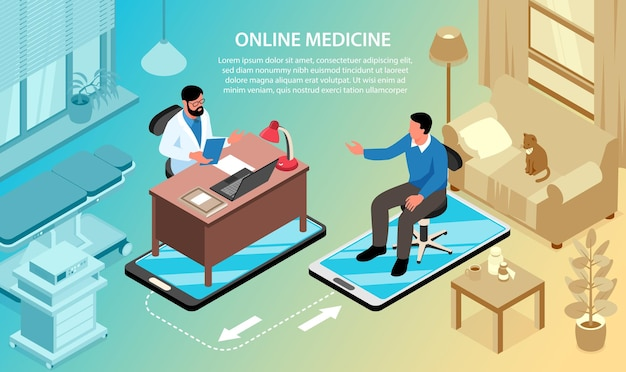 Composition d'illustration horizontale de médecine en ligne isométrique avec texte et vues combinées de l'hôpital et du salon