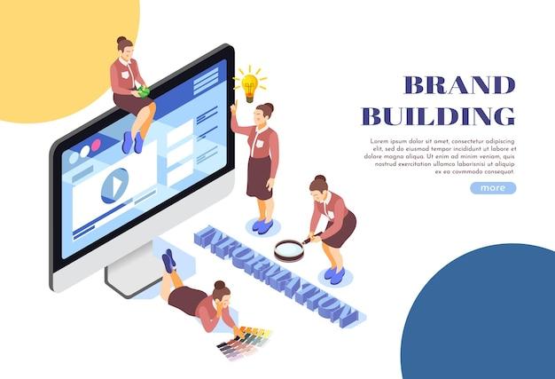 Composition d'illustration isométrique de page web de construction de marque avec moniteur de bureau symboles de recherche d'informations sur l'équipe féminine