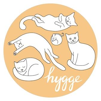 Composition d'illustration vectorielle dessinés à la main avec des chats et des souris lettrage hygge