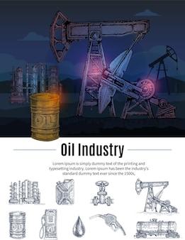 Composition de l'industrie du pétrole dessiné