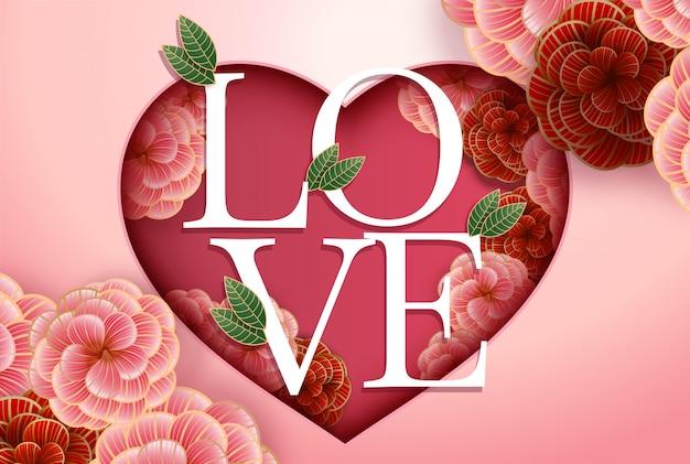 Composition avec inscription amour et éléments floraux abstraits.