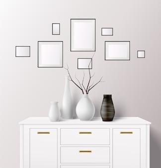 Composition intérieure réaliste avec des pots de fleurs debout sur un casier fermé avec des cadres sur un mur lumineux
