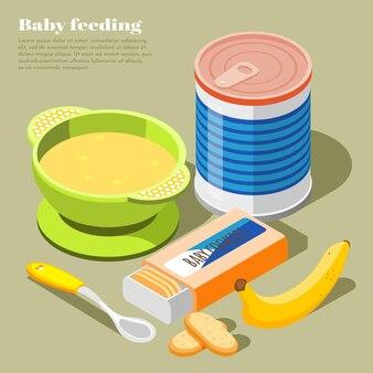 Composition isométrique des aliments pour nourrissons sains avec des biscuits au lait en poudre purée de banane bol bébé cuillère illustration