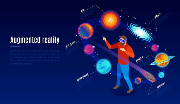 Composition isométrique d'application d'astrophysique en réalité augmentée avec des lunettes ar expérience en espace ouvert parmi les corps célestes illustration