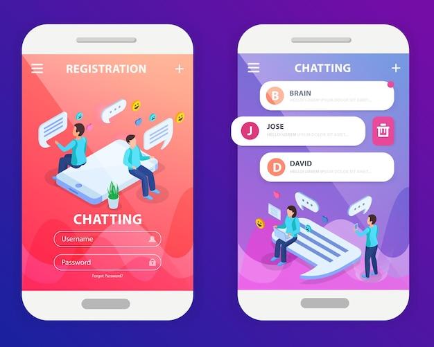 Composition isométrique de l'application mobile de chat avec connexion d'enregistrement et écran de smartphone de messagerie