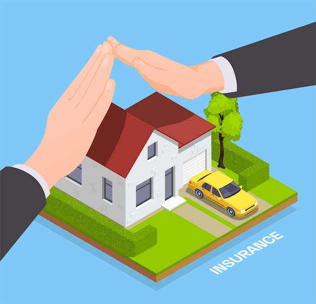 Composition isométrique d'assurance avec maison privée avec les mains des agents protégeant la propriété avec du texte modifiable