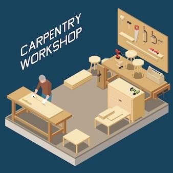 Composition isométrique de l'atelier de menuiserie avec un menuisier mesurant le panneau de stockage des outils de processus de production de meubles en planches de bois