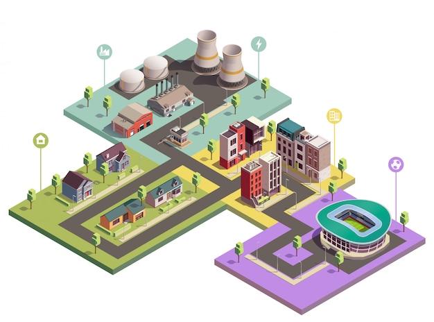 Composition isométrique des bâtiments de banlieue avec vue sur les blocs de la ville de différents domaines avec des icônes de pictogramme plat