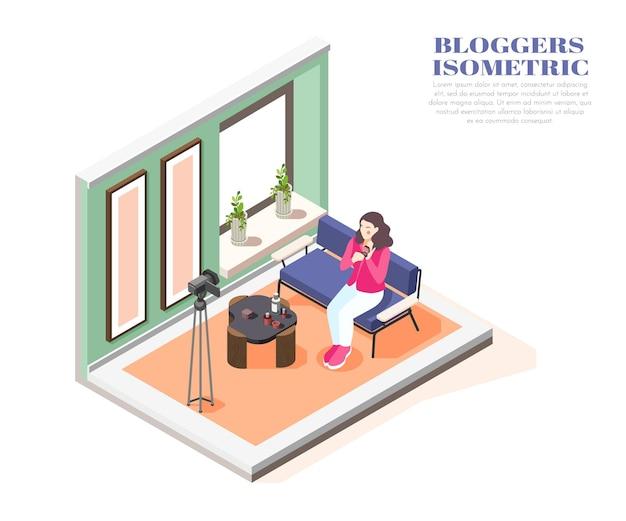 Composition isométrique avec une blogueuse beauté femme enregistrant une vidéo à la maison