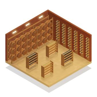 Composition isométrique de cave à vin