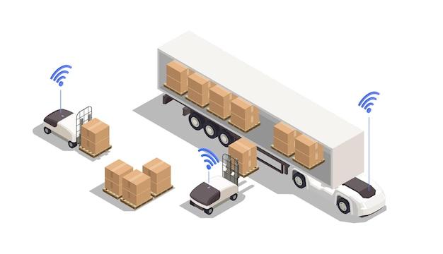Composition isométrique avec des chariots élévateurs automatisés chargeant des boîtes en carton dans une illustration 3d de camion
