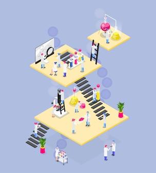 Composition isométrique de chimie de plates-formes carrées reliées à des escaliers, des personnages de matériel de laboratoire et divers objets