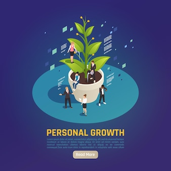 Composition isométrique circulaire de métaphore de la plante de développement de la croissance personnelle avec des personnes se fixant des objectifs collaborant pour obtenir des résultats