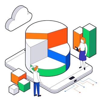 Composition isométrique colorée de l'analyse de la science des données volumineuses avec deux personnes analysant le travail d'un smartphone