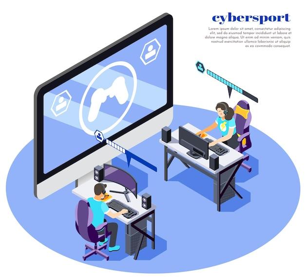 Composition isométrique et colorée de cybersport avec des jeux en ligne abstraits et deux personnes