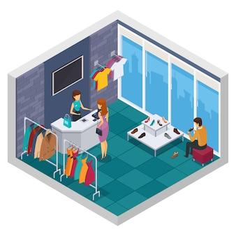 Composition isométrique colorée de magasin d'essai avec mur de fenêtre et débarras avec acheteur
