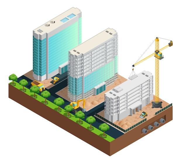 Composition isométrique de construction de trois bâtiments modernes à plusieurs étages sur le vecteur de fond blanc