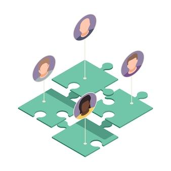 Composition isométrique de création d'équipe virtuelle en ligne avec des pièces de puzzle connectées à des avatars d'illustration de travailleurs