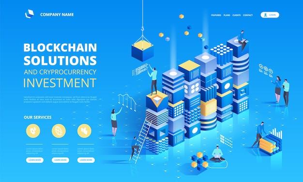 Composition isométrique de crypto-monnaie et de blockchain avec des personnes