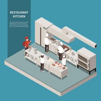 Composition isométrique de cuisine professionnelle de restaurant avec gamme industrielle four à grill électrique réfrigérateur personnel de cuisson des aliments