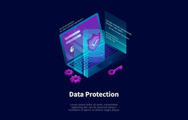 Composition isométrique dans le style 3d de dessin animé de conception de concept de protection des données