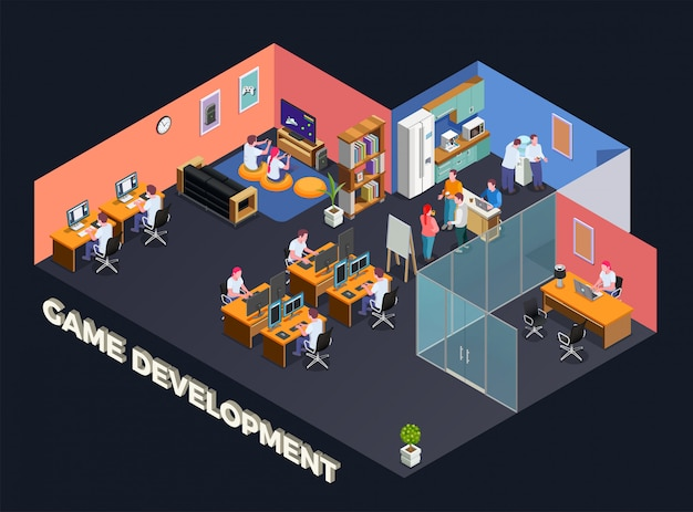 Composition isométrique de développement de jeux avec des programmeurs et des joueurs assis devant leur ordinateur à l'intérieur du bureau