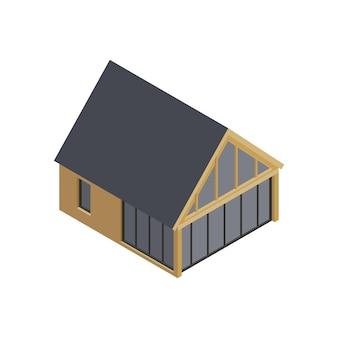 Composition isométrique du bâtiment à ossature modulaire avec image isolée de la maison moderne