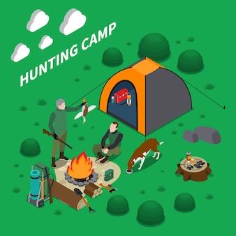 Composition isométrique du camp de chasse avec illustration de symboles de chien et de feu de camp pour hommes