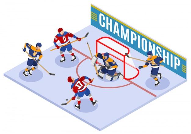 Composition isométrique du championnat de hockey avec un score de slapshot vers l'avant et protégeant le gardien de but net dans le pli