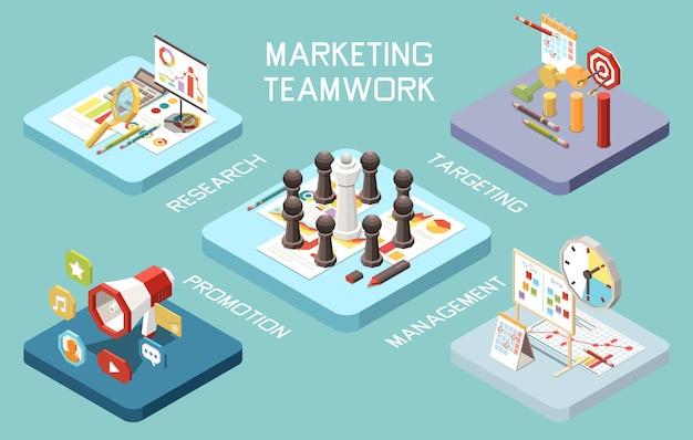 Composition isométrique du concept de stratégie marketing avec ensemble de pictogrammes