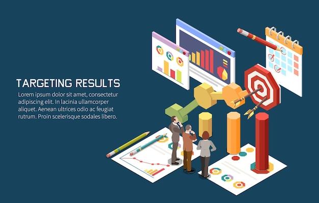 Composition isométrique du concept de stratégie marketing avec des personnages humains et un graphique cible