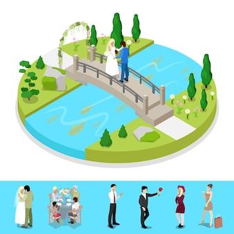 Composition isométrique du parc de la ville avec un couple de mariage