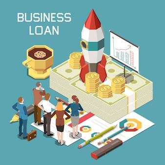 Composition isométrique du pointage de crédit de prêt bancaire de financement de démarrage d'entreprise avec une fusée d'évaluation de financement sur les billets de banque