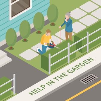 Composition isométrique du service d'aide sociale professionnelle des personnes âgées avec des paysages extérieurs et un homme aidant l'illustration d'une vieille femme