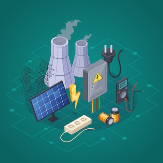 Composition isométrique d'électricité avec symboles de puissance et d'énergie électriques vector illustration