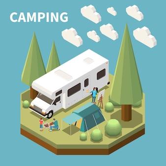 Composition isométrique avec femme peinture et homme avec enfant faisant du feu au camping