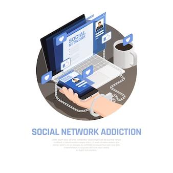Composition isométrique de gadget internet smartphone addiction avec des images de gadgets électroniques comme des pictogrammes et illustration vectorielle de texte modifiable