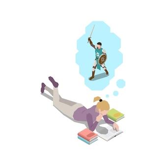Composition isométrique de gestion du stress avec une fille allongée lisant un livre en pensant à l'illustration d'un guerrier médiéval